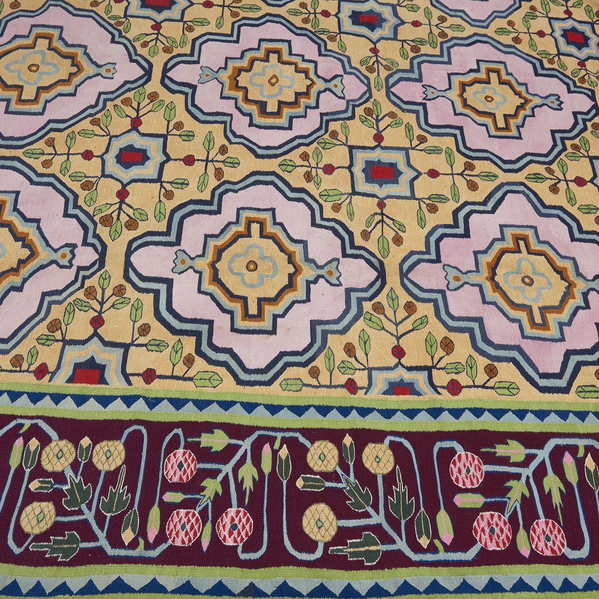 Important Late Nineteenth Century Gul Pattern Dhurrie