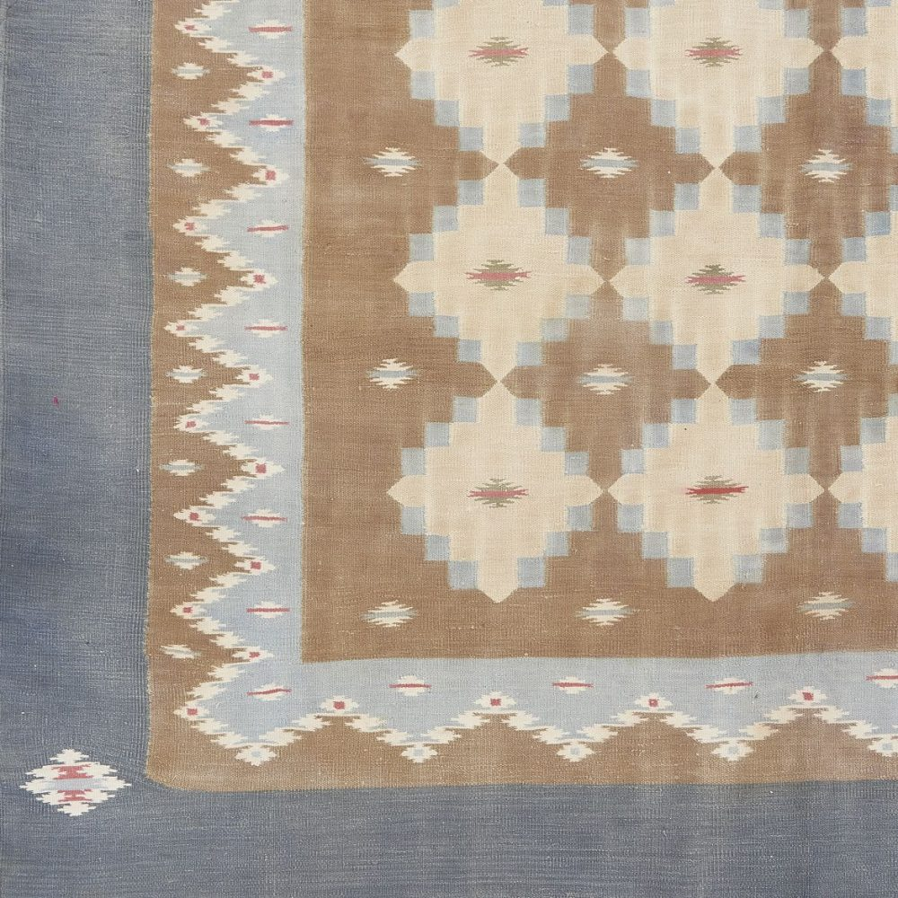 Pale Blue And Brown Geometric Design Dhurrie