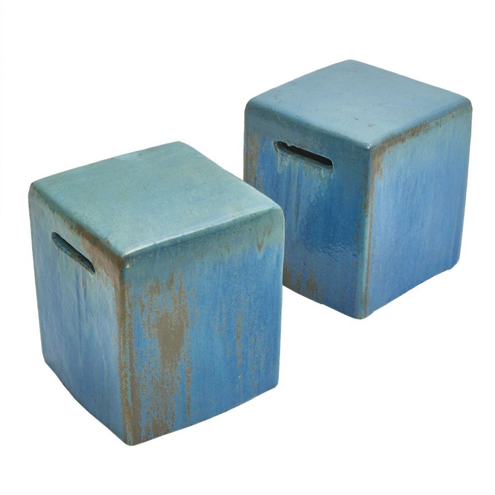Pair Square Turquoise Glazed Pottery Stools