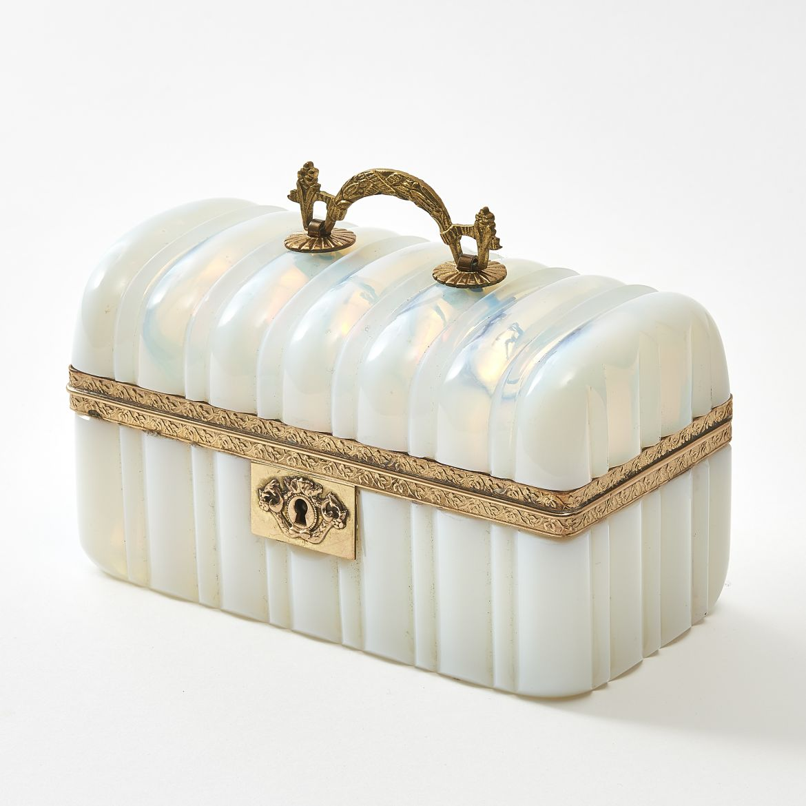 French Louis Philippe Ribbed White Opaline Box