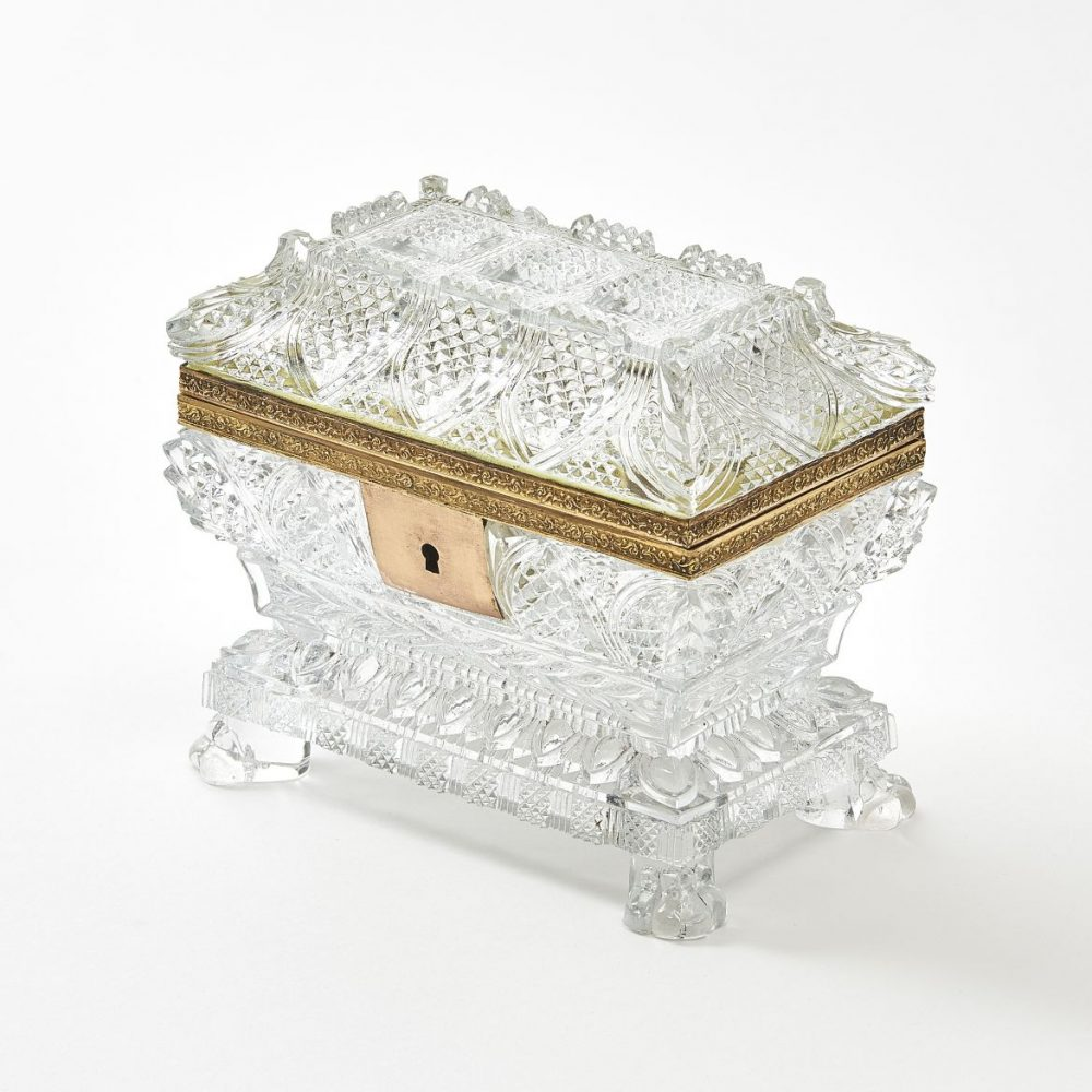French Cut And Moulded Glass Box With Paw Feet