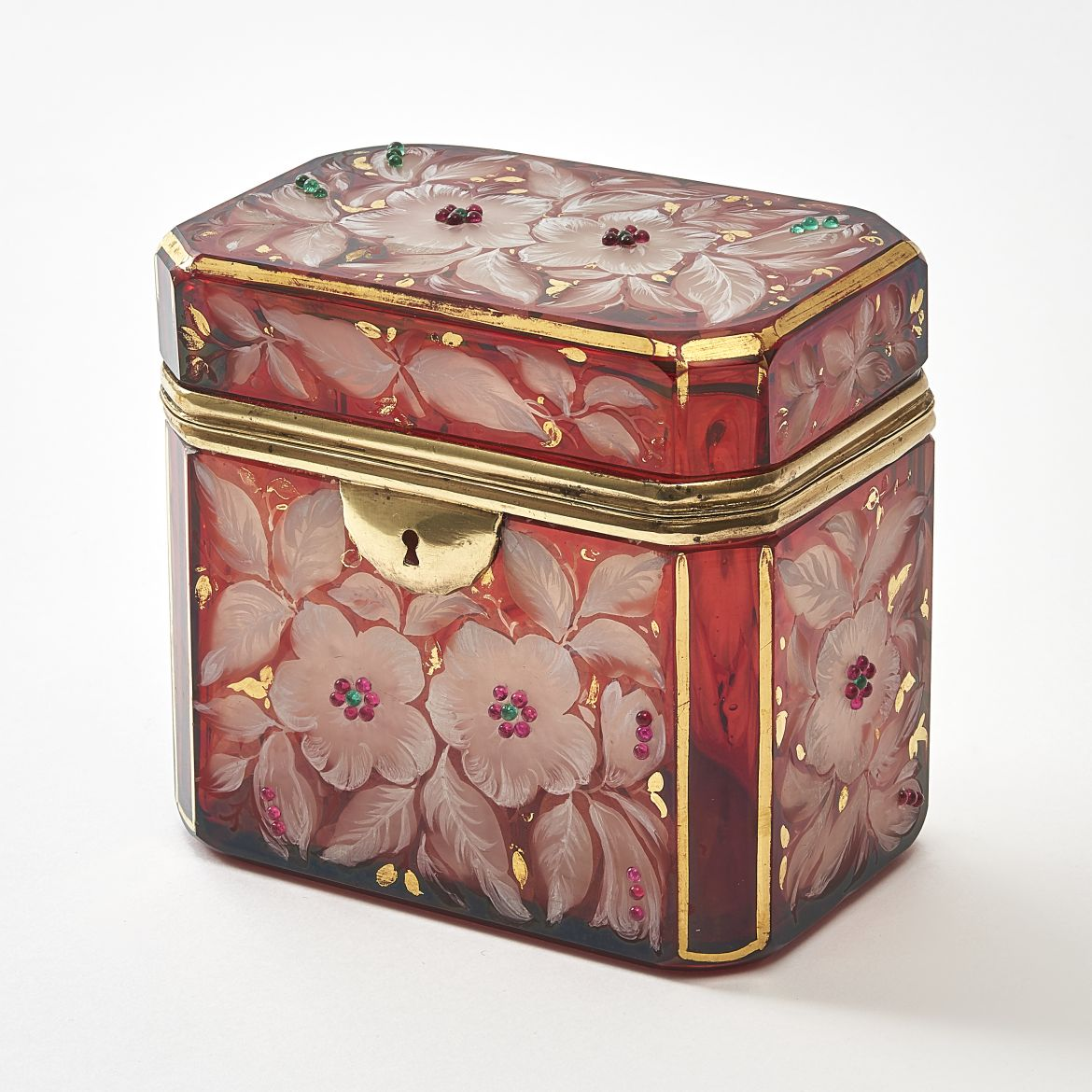 Bohemian Red Glass Box With Etched Flowers And Gilt Highlights