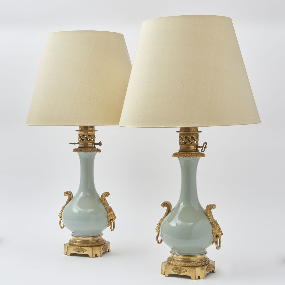 Pair Chinese Celadon Gourd Shaped Lamps