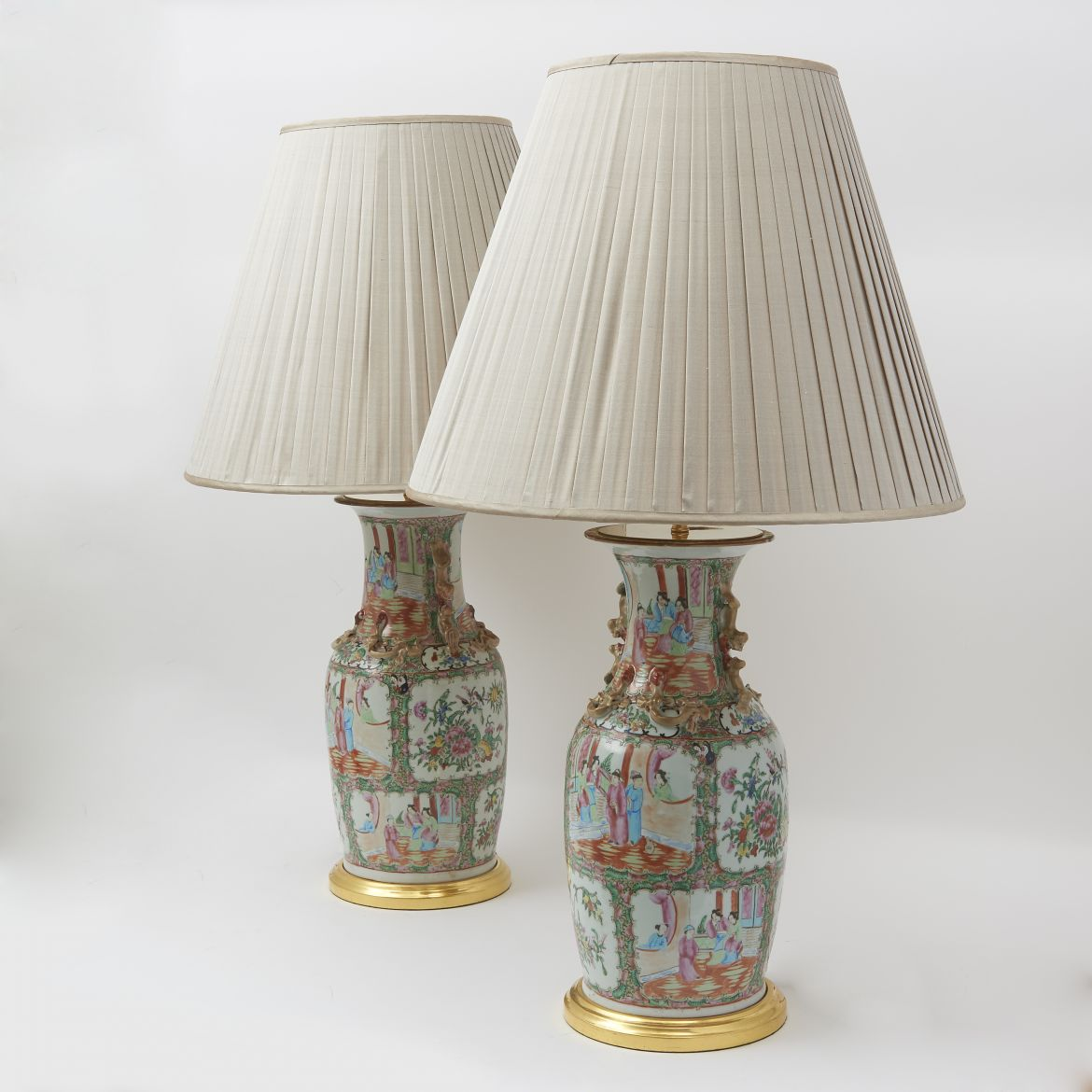 Pair Famille Rose Baluster Vases Wired As Lamps