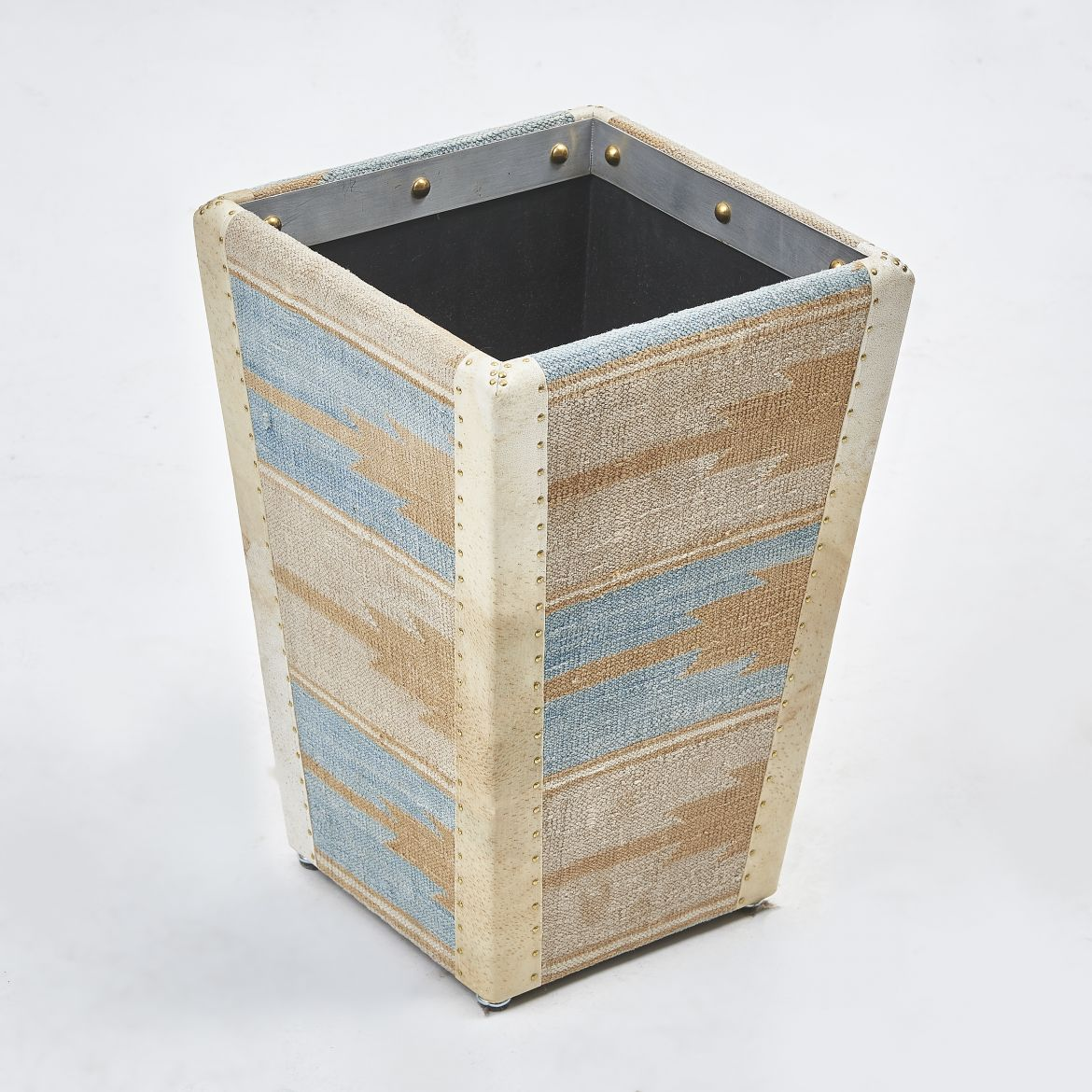Blue And Caramel Dhurrie Covered Waste Paper basket