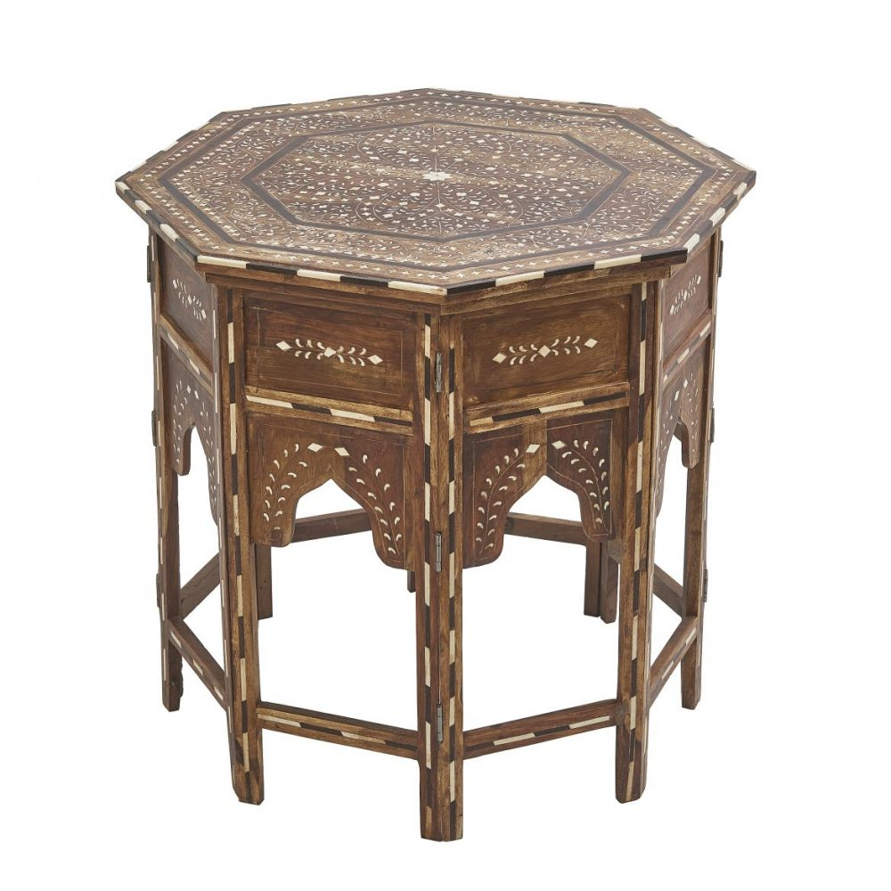Contemporary Inlaid Table With Arabesque Detailing
