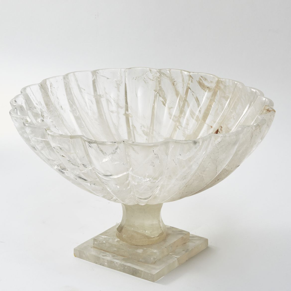 Scalloped Edge Rock Crystal Footed Bowl