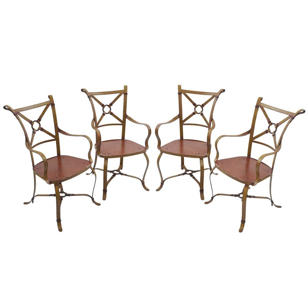 Set Four French Painted Wrought Iron Garden Chairs