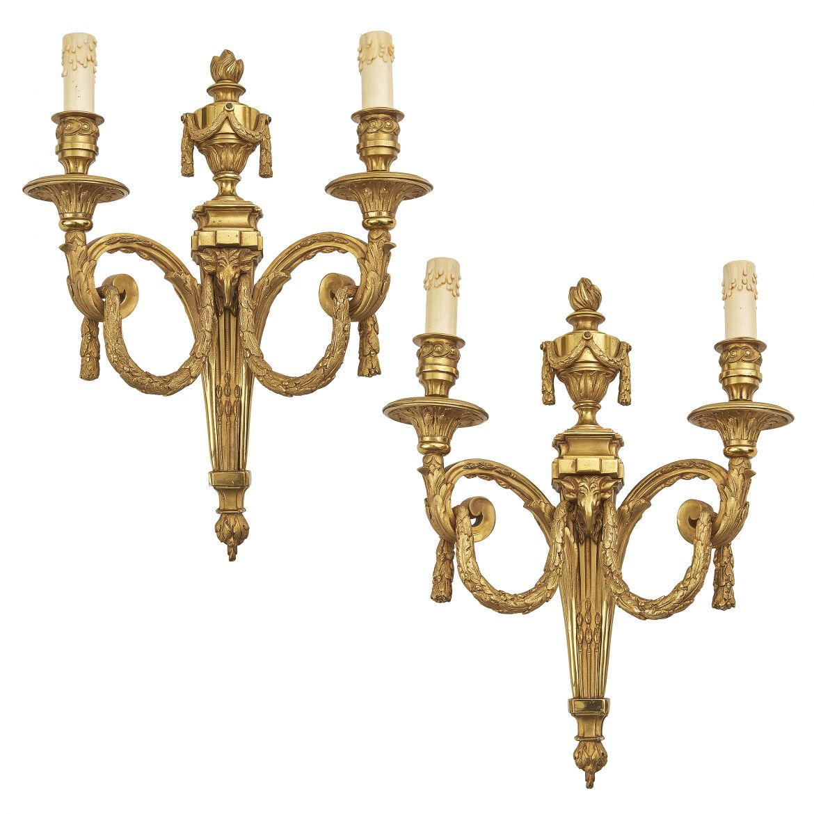 Pair Louis XVI Style Neoclassical Wall Sconces After Model By Delafosse