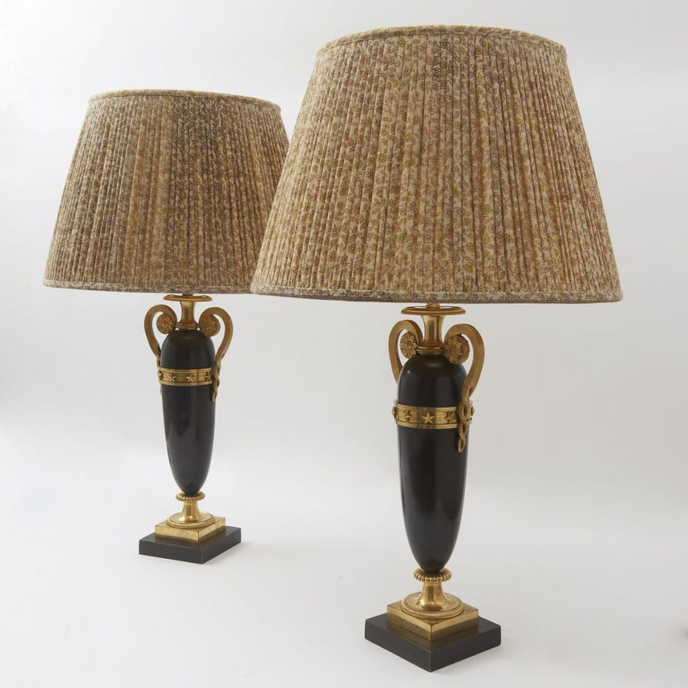 French Empire Bronze Amphora Shaped Lamps