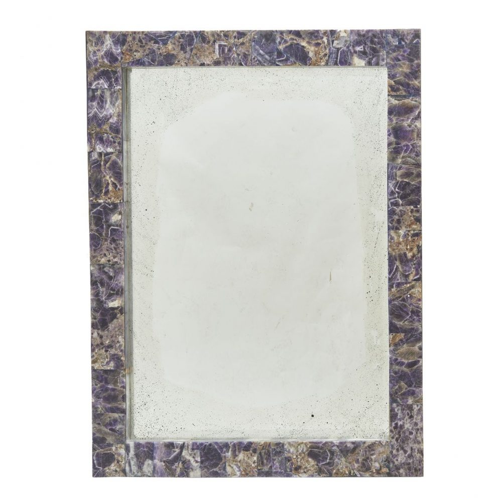 Amethyst Coloured Antiqued Glass Mirror