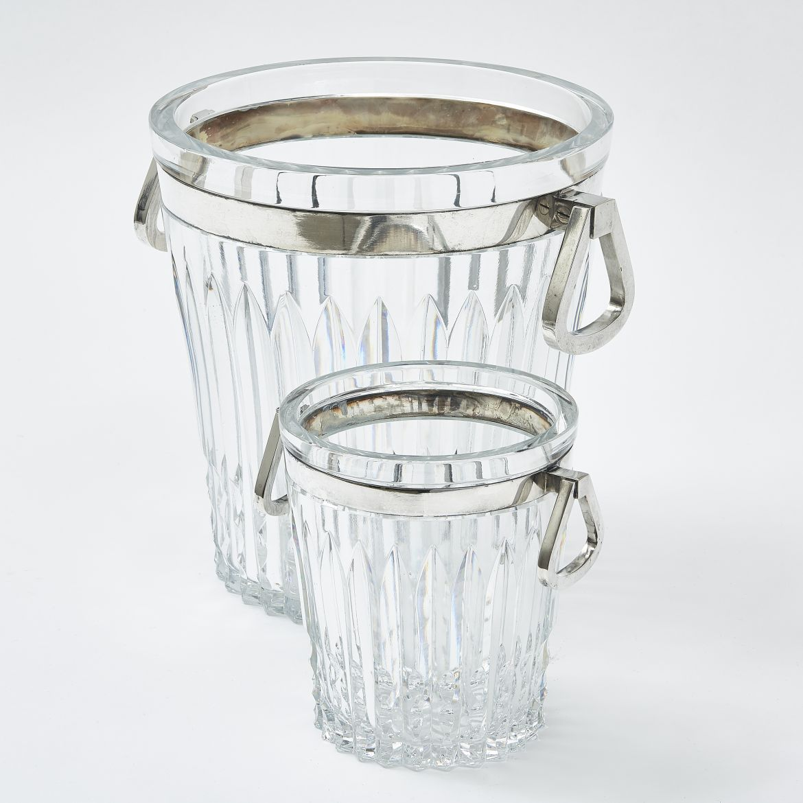 French Art Deco Style Cut Glass Bottle Cooler and Ice Bucket