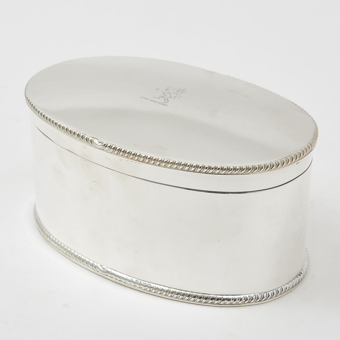Edwardian Silver Plate Box With Lion Crest