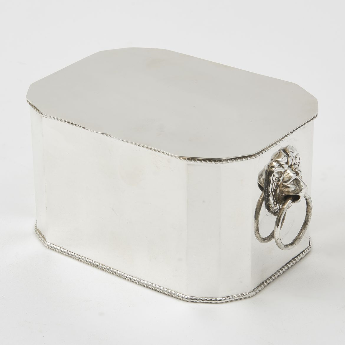 Edwardian Silver Plate Box With Canted Corners And Lion Handles