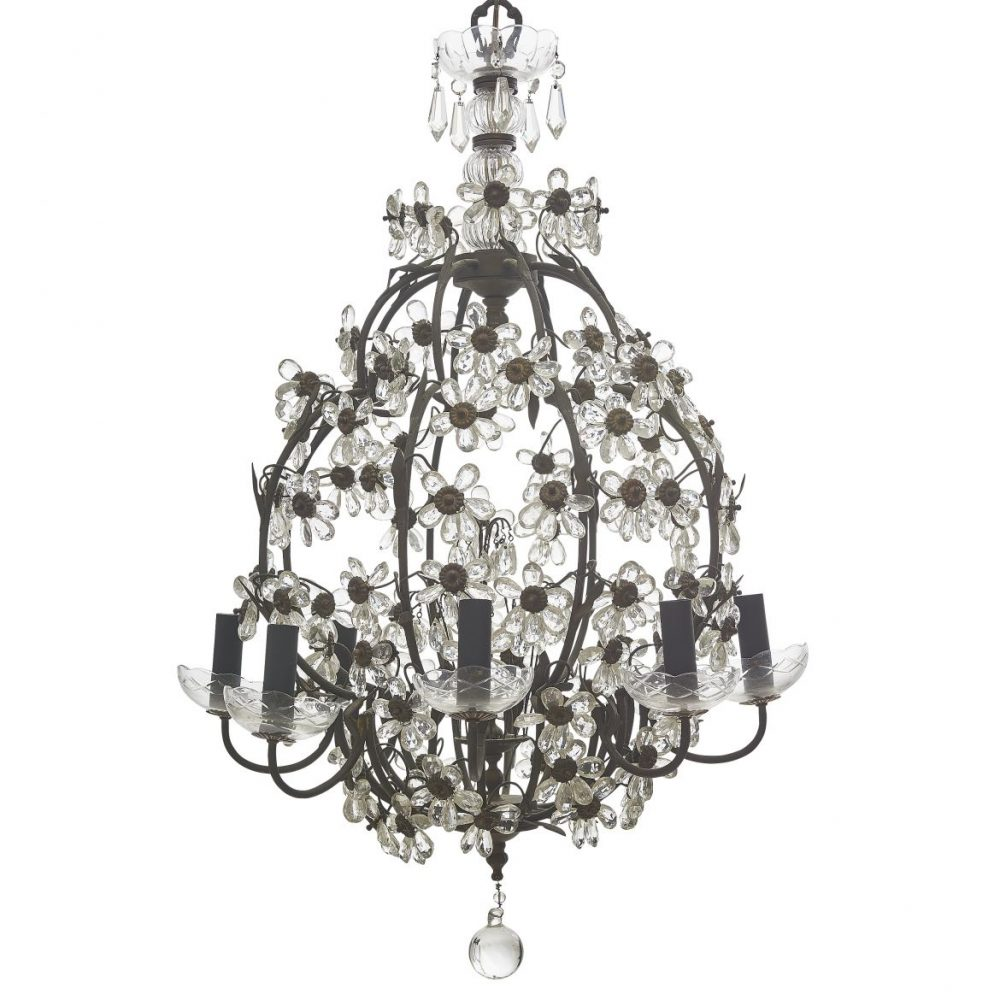 French Bagues Style Glass Flower Chandelier