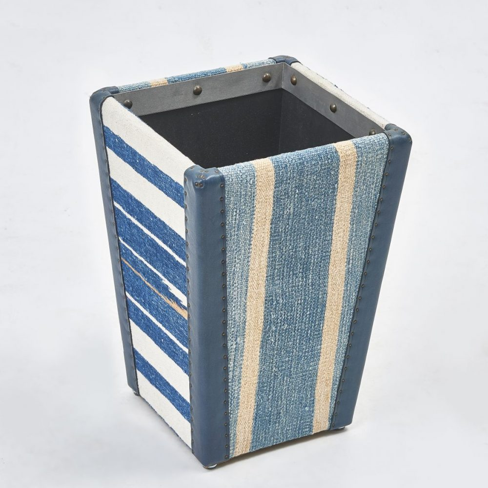 Blue And White Striped Waste Paper Basket