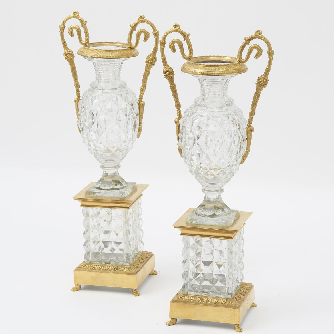 French Louis Philippe Ormolu Mounted Cut Crystal Vases