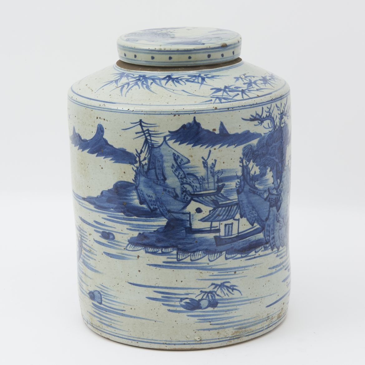 Chinese Blue And White Earthenware Tea Cannister