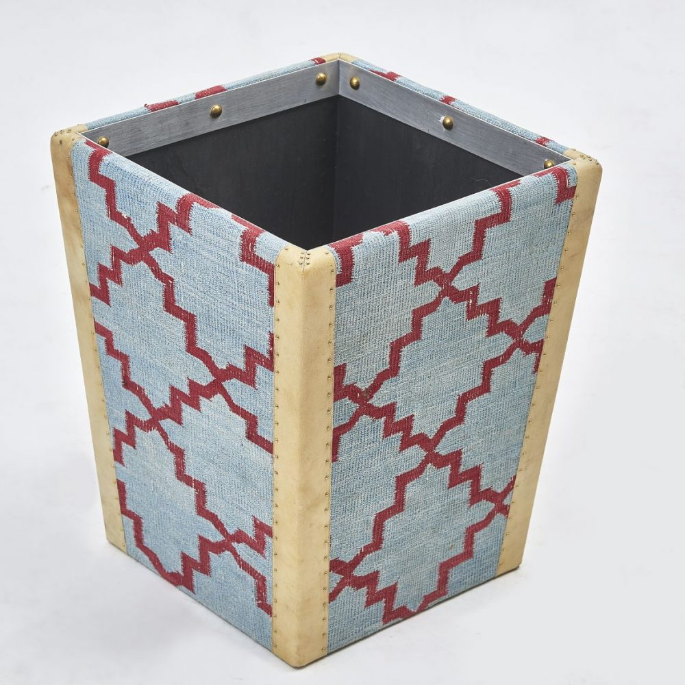 Geometric Design Dhurrie Covered Waste Paper Basket