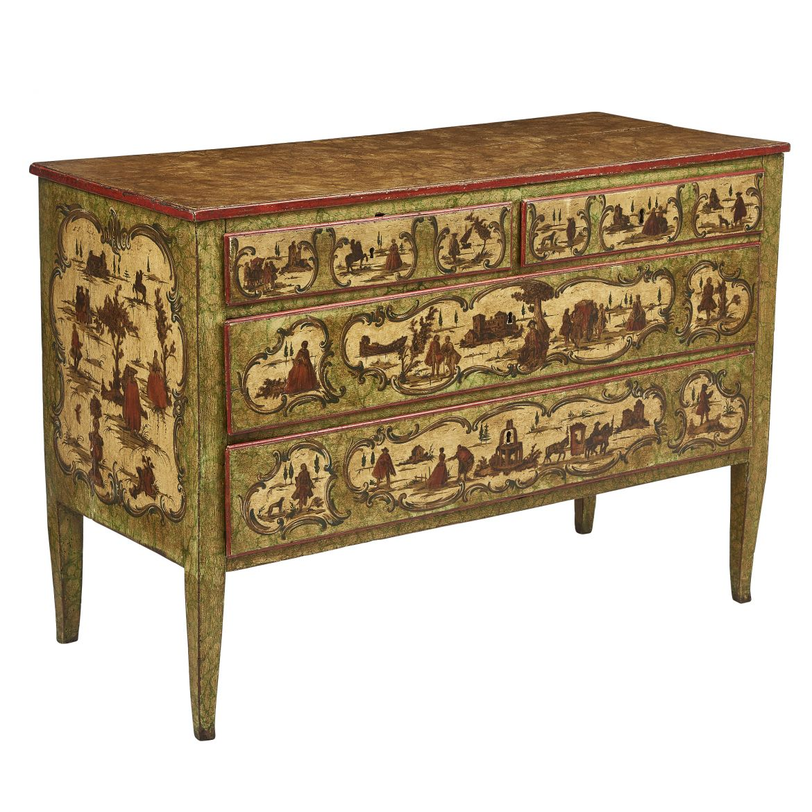 Neapolitan Painted And Lacca Povera Commode