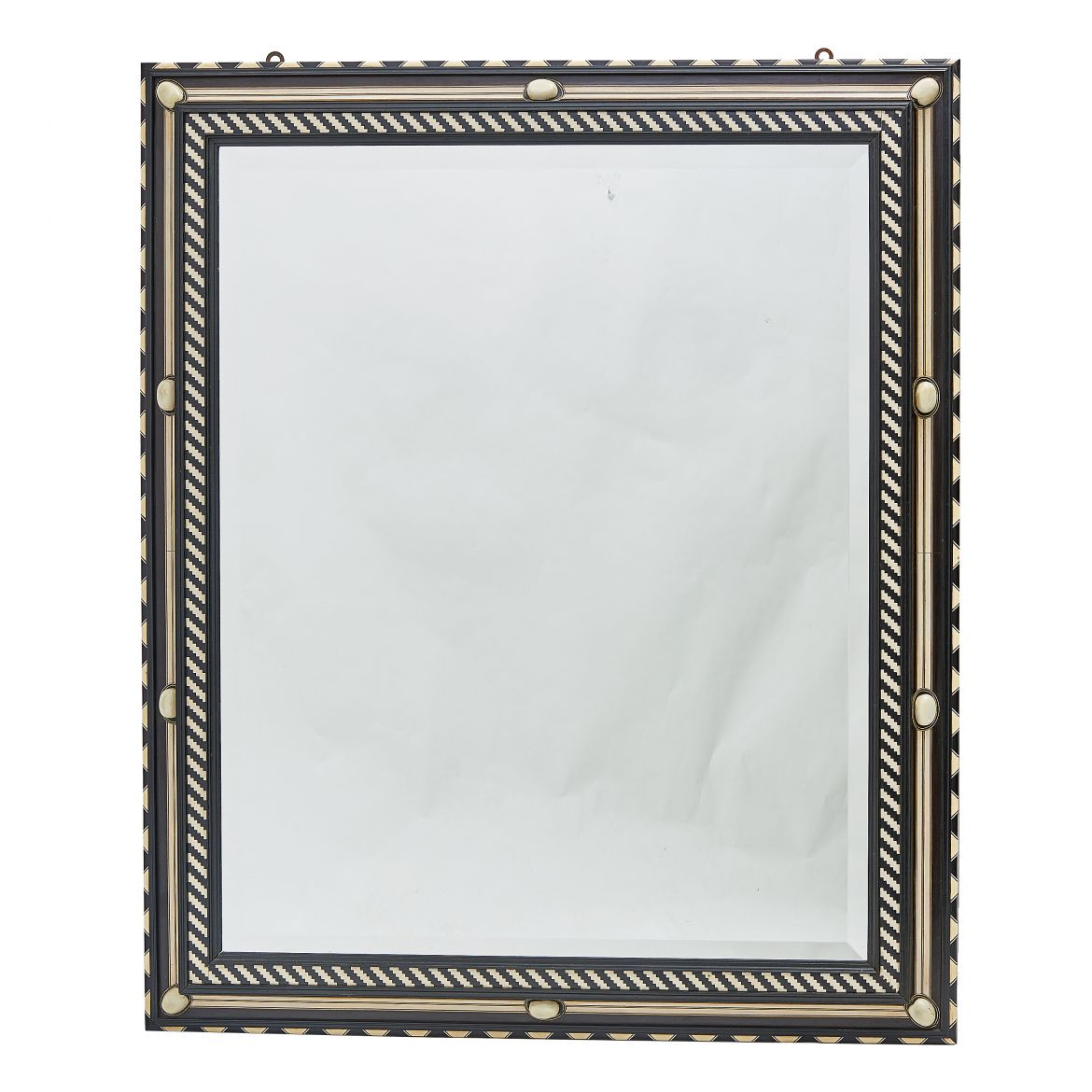 Italian Ebony And Bone Framed Mirror