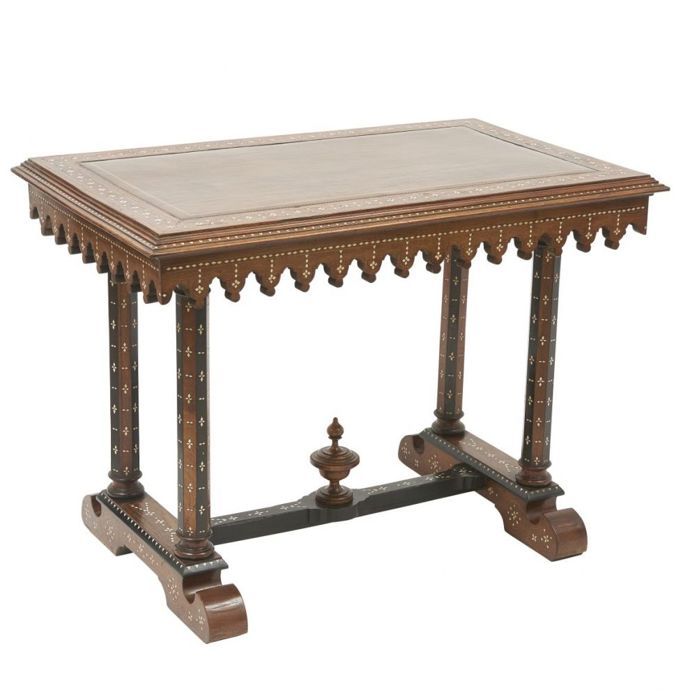 Italian Walnut And Arabesque Bone Inlaid Centre Table