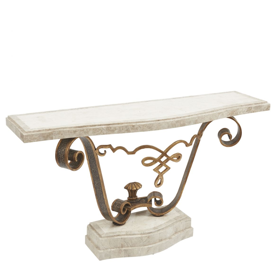 Fournier Wrought Iron And Tesselated Marble Console Table