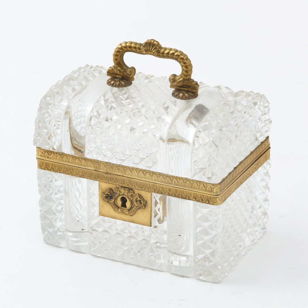 French Domed Cut Crystal Box Attributed to Baccarat