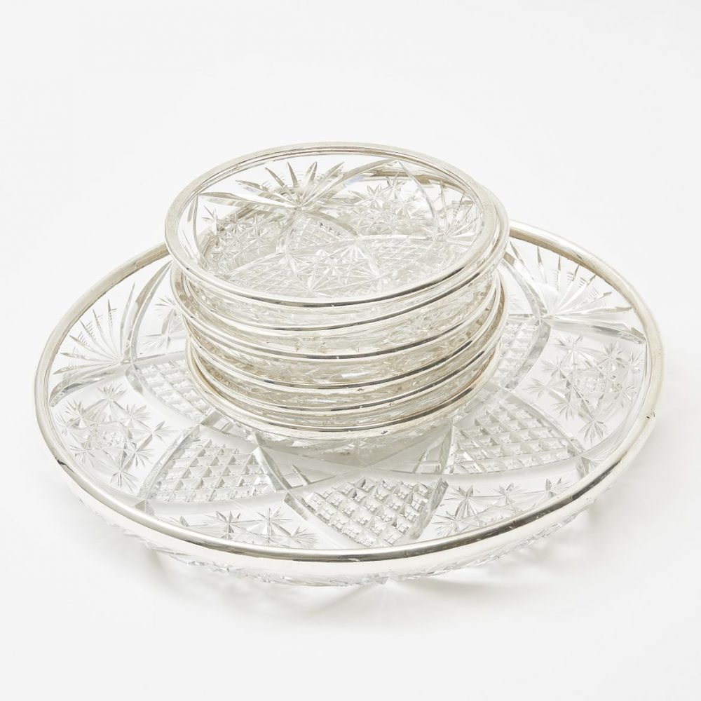 French Silver Mounted Cut Crystal Serving Dish and Side Dishes