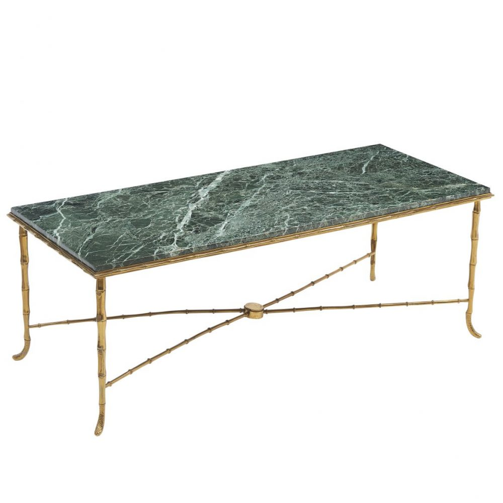 Bagues Style Coffee Table With Vert Maurin Marble Top