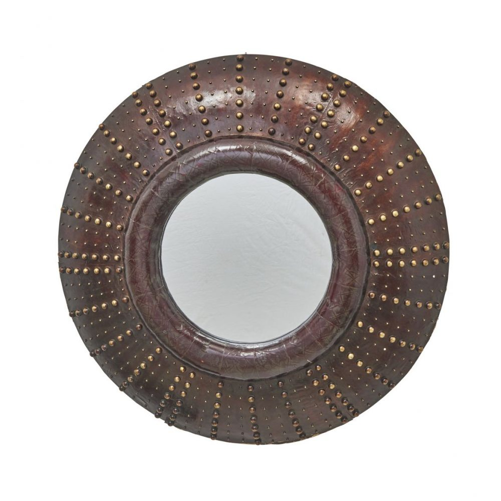 Round Brown Lacquer And Studded Mirror From Hotel Costes Paris