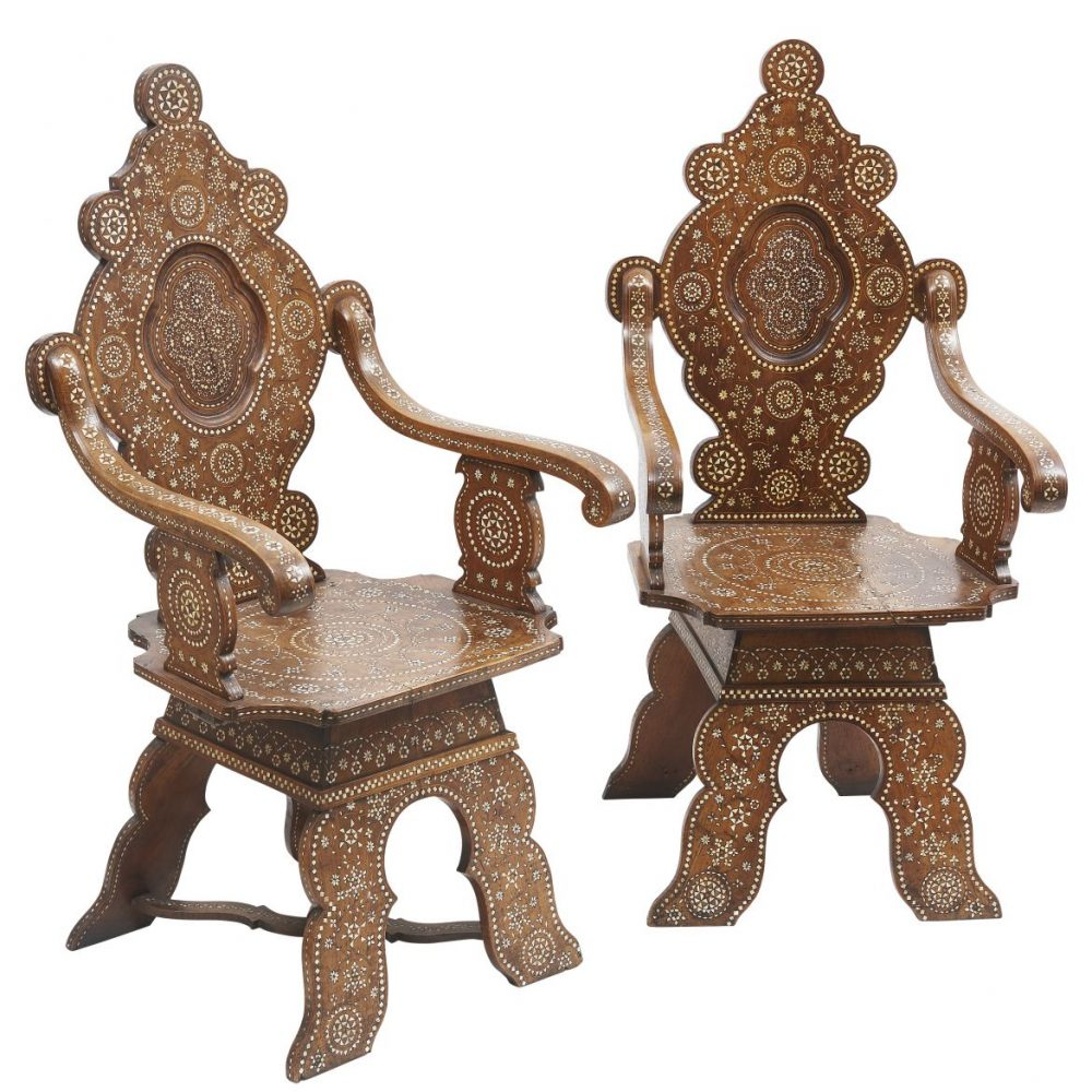 Pair Italian Arabesque Design Bone Inlaid Armchairs
