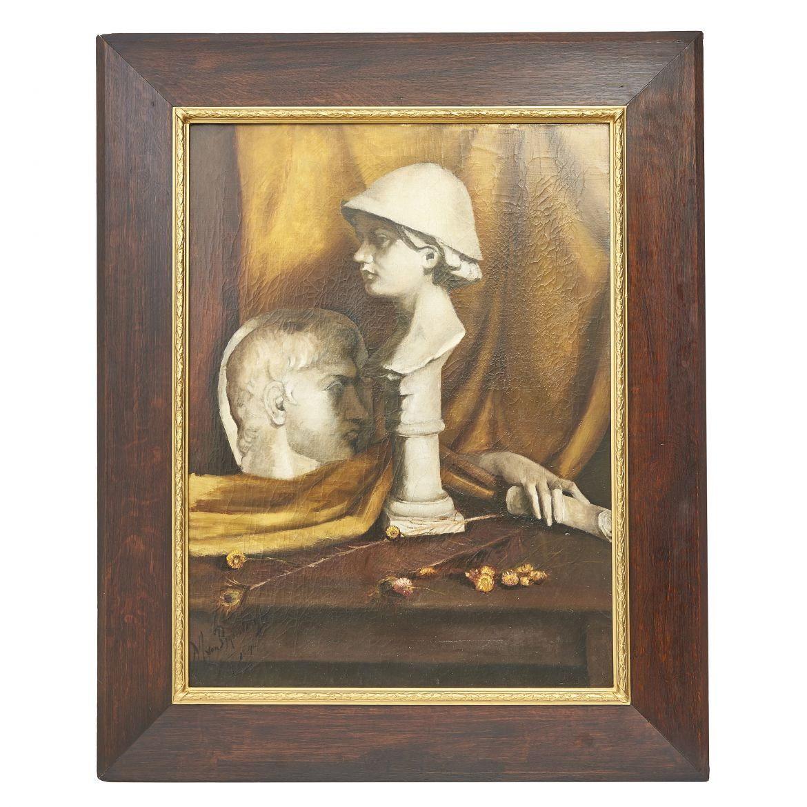Oil On Canvas Still Life Painting Of Marble Sculptures