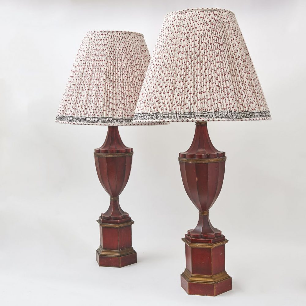 Italian Red Toleware Urn Shaped Lamps