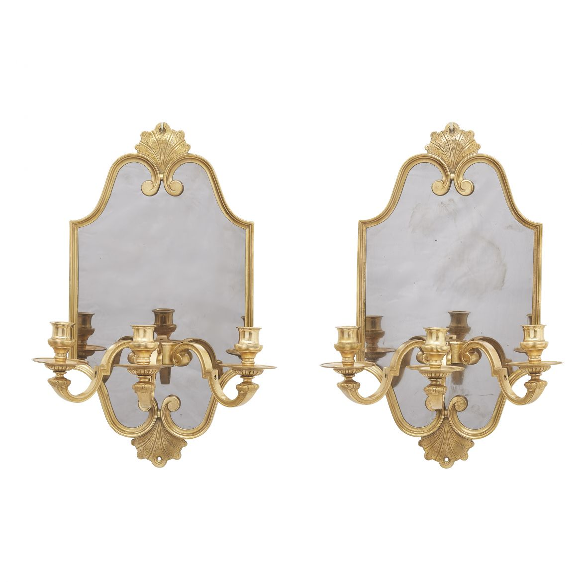 French Bronze Mounted Mirror Back Sconces By Maison Charles