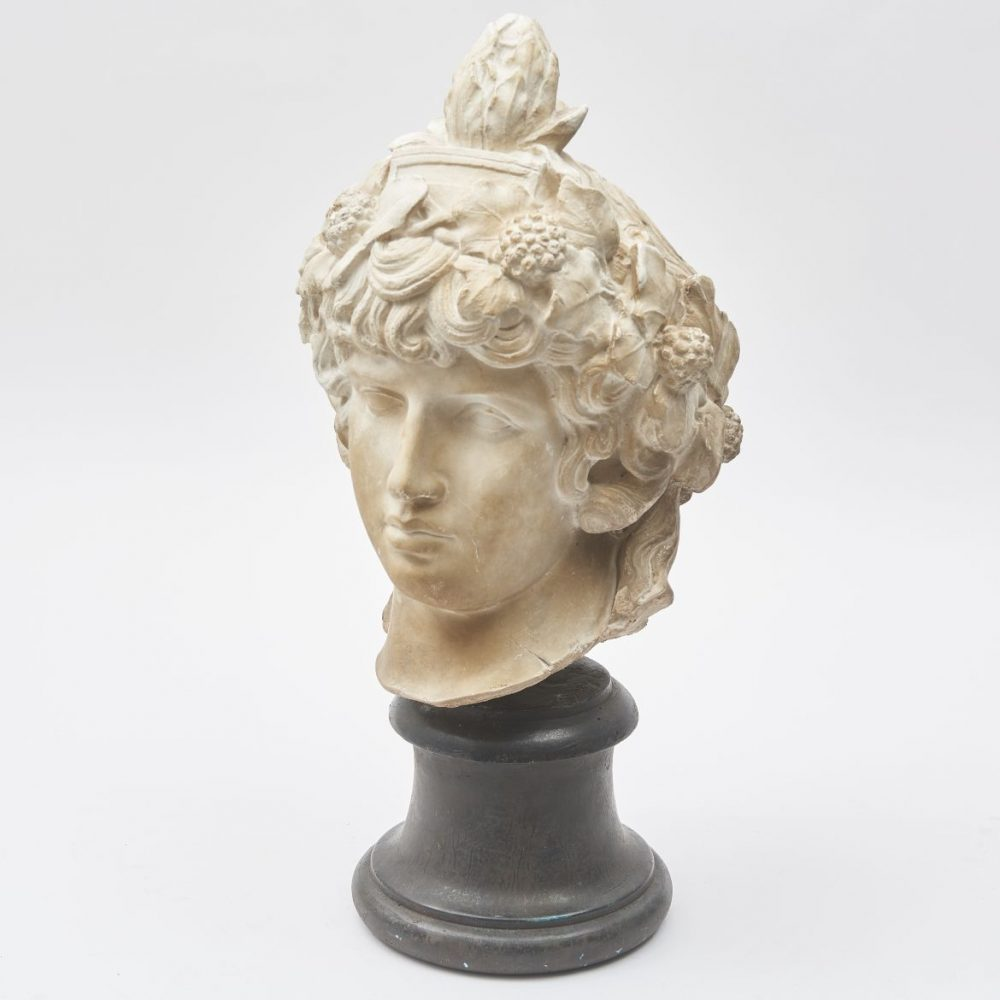 Italian Plaster Head Of Antinous As Dionysus After The Vatican Original