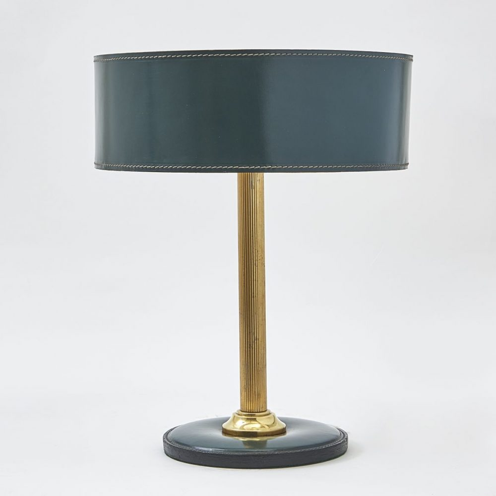 French Green Leather Desk Lamp After Jacques Adnet