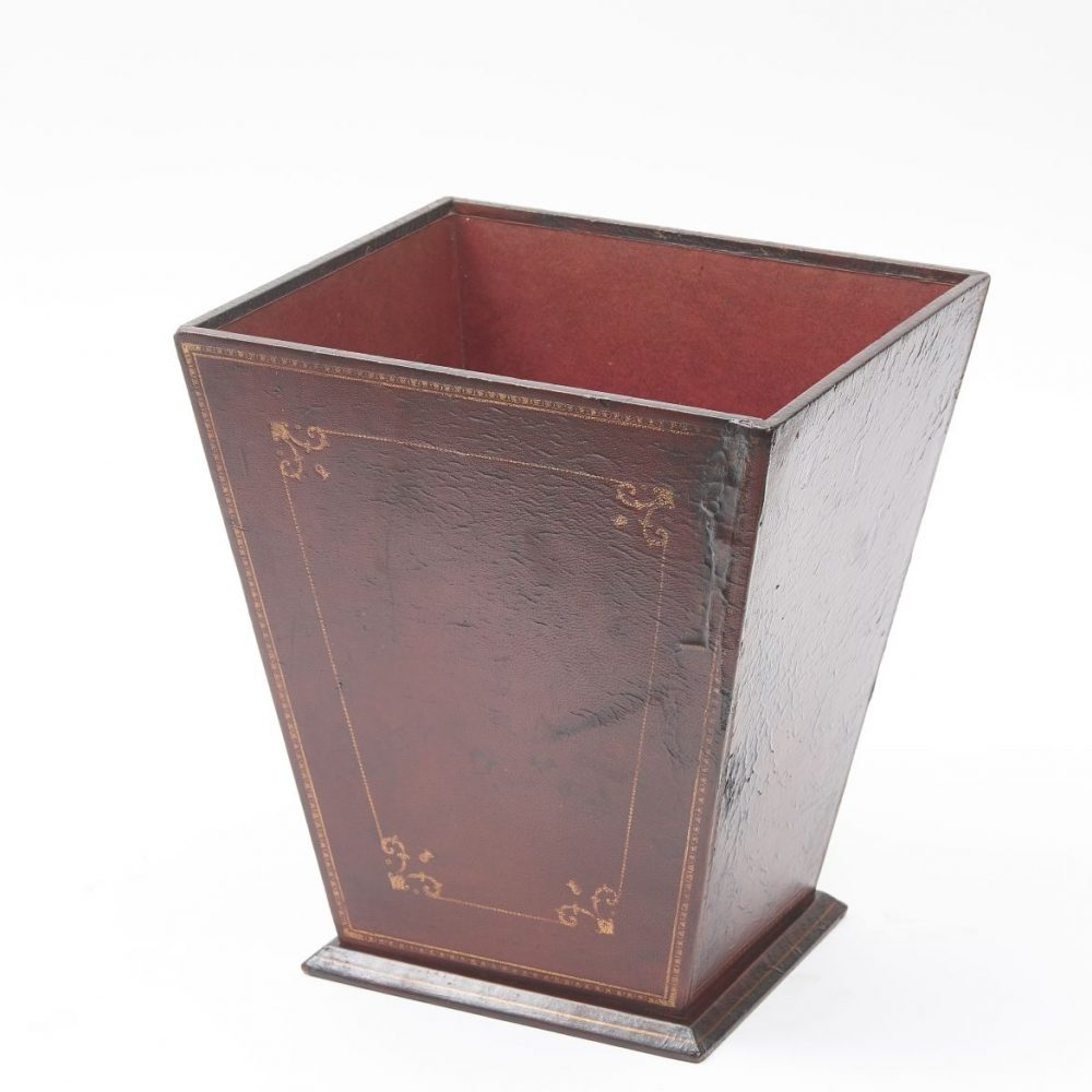 French Red Leather Tooled Waste Paper Basket