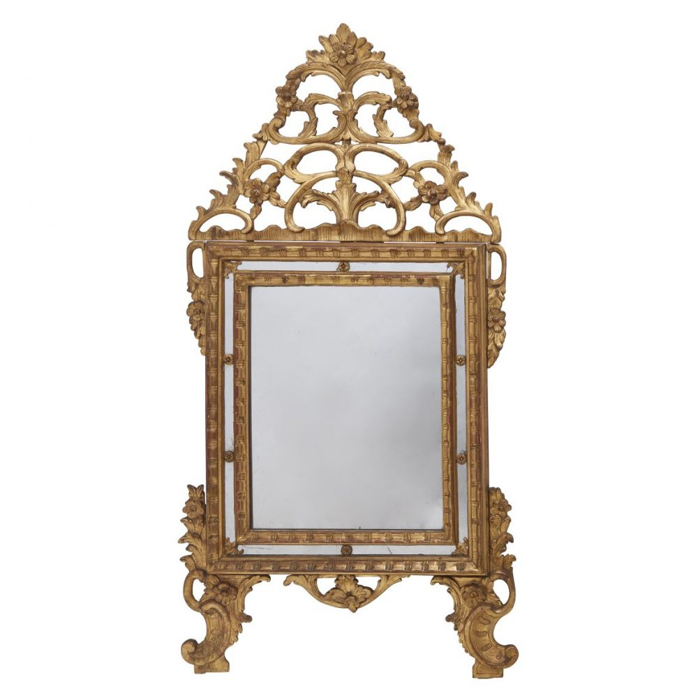 Highly Carved Piedmontese Giltwood Mirror