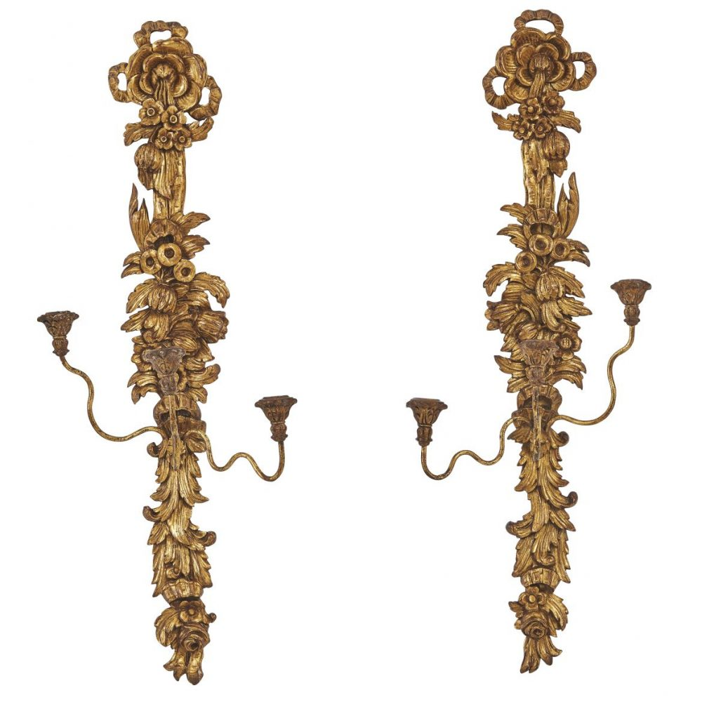 Pair Italian Carved Giltwood Floral Sconces