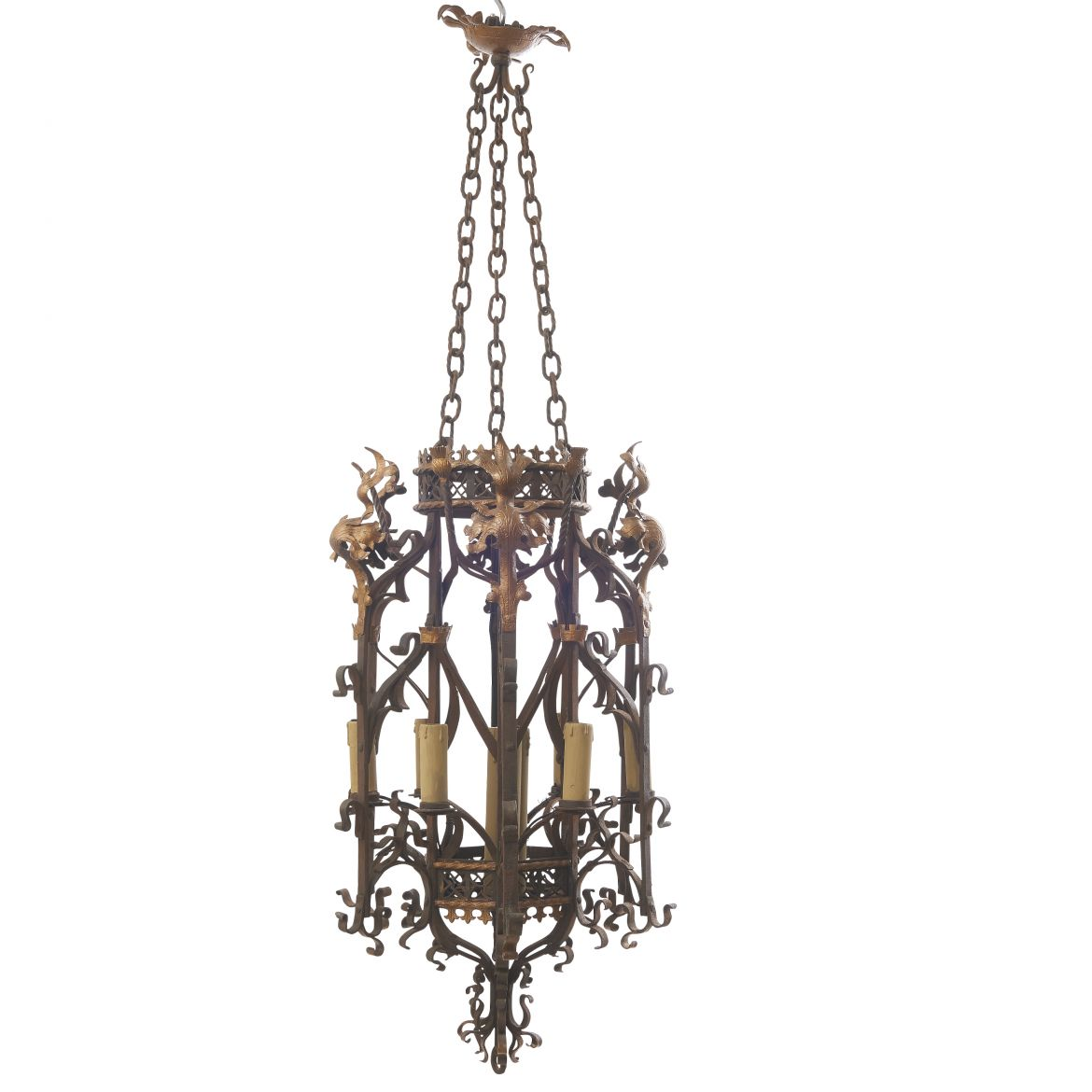French Wrought Iron Gothic Revivalist Style Lantern