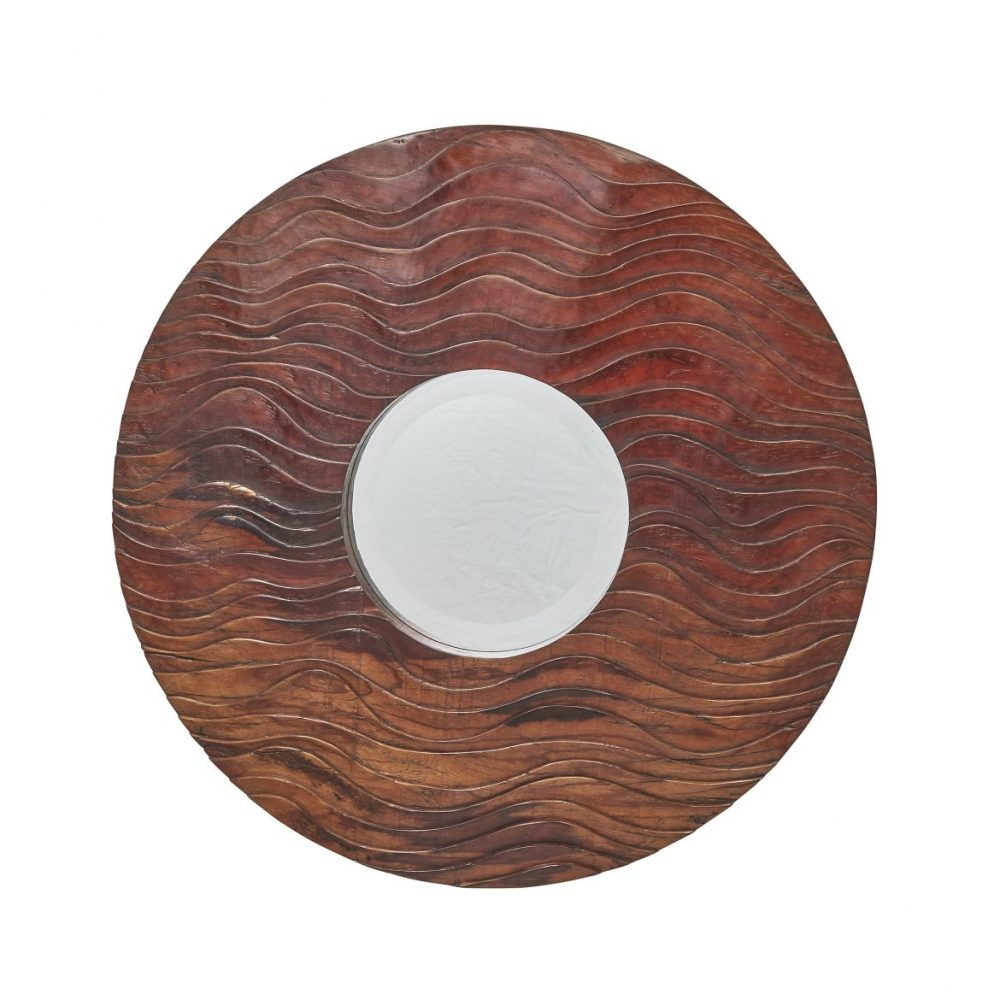 Circular Carved Molave Wood Mirror