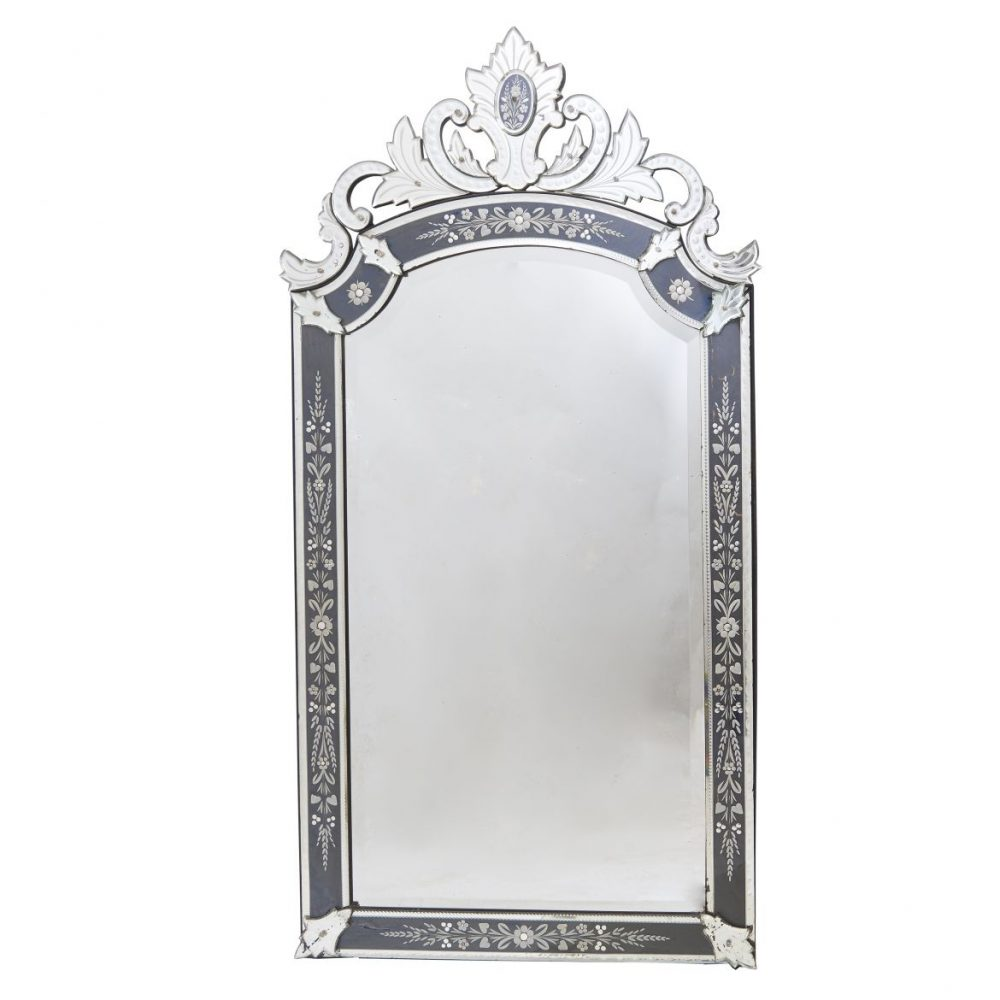 French Venetian Style Mirror With Grey Eglomisée Frame
