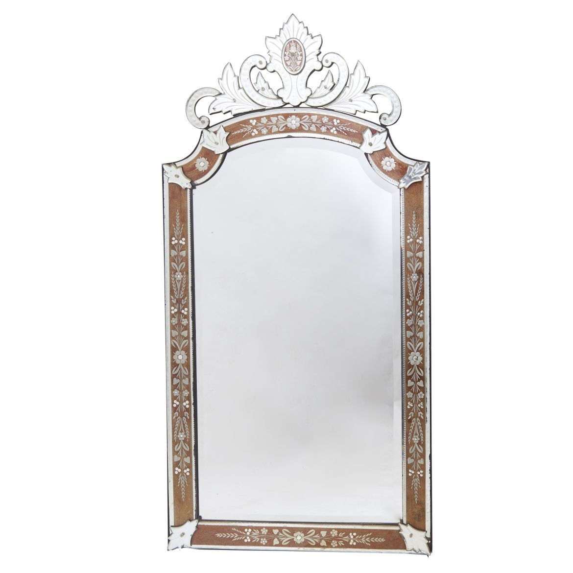 French Venetian Style Mirror With Gold Eglomisée Frame