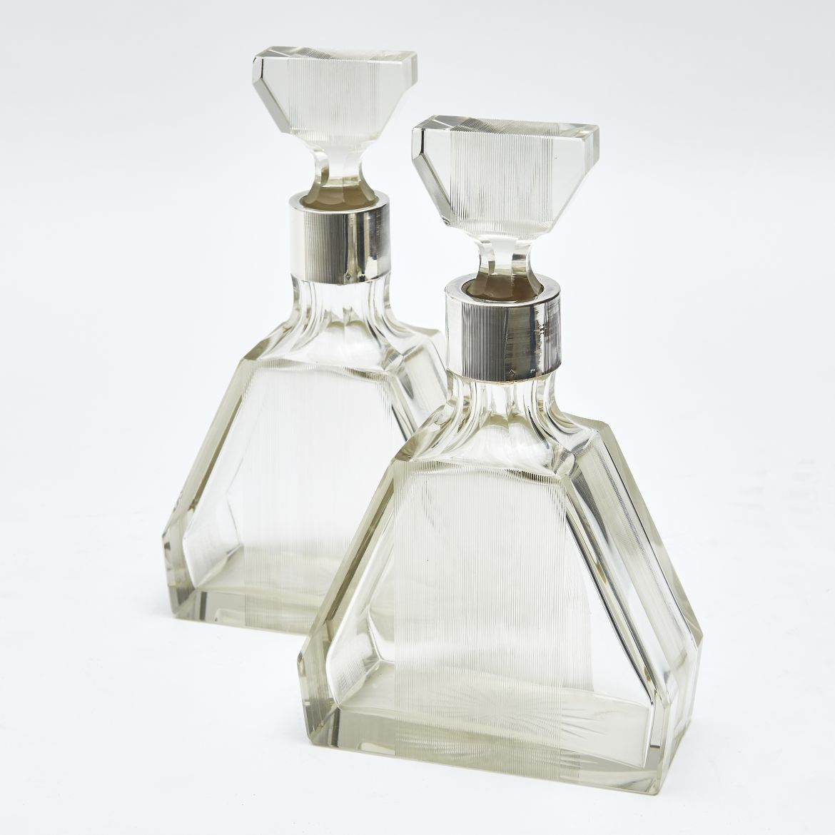 Pair French Art Deco Decanters With Ribbed Decoration