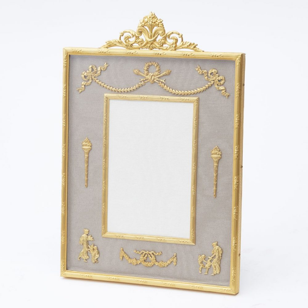 Ormolu Frame With Neoclassical Motifs And Taupe Silk