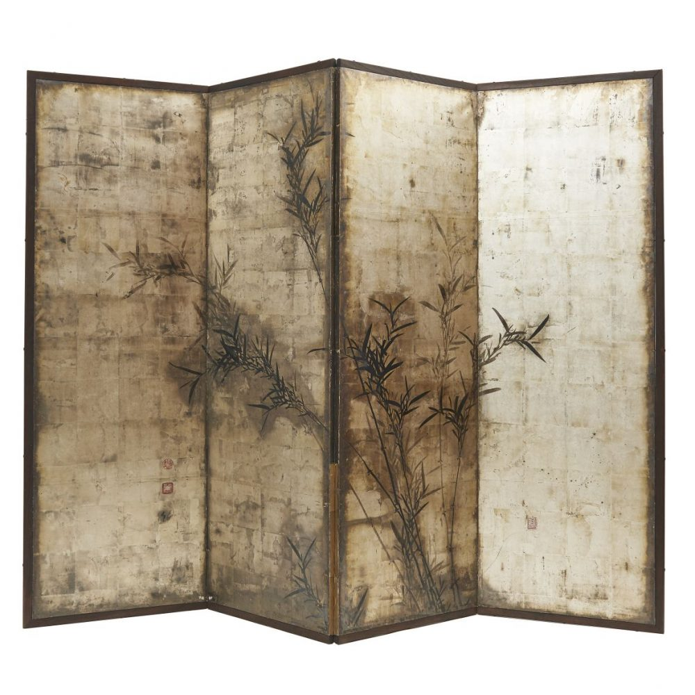 Japanese Four Fold Screen With Painted Bamboo
