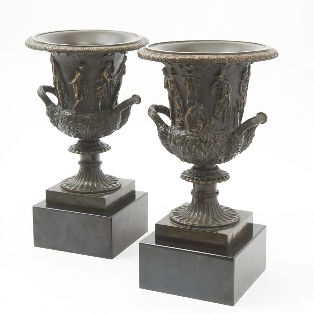 Pair Grand Tour Bronze Borghese Urns On Marble Bases