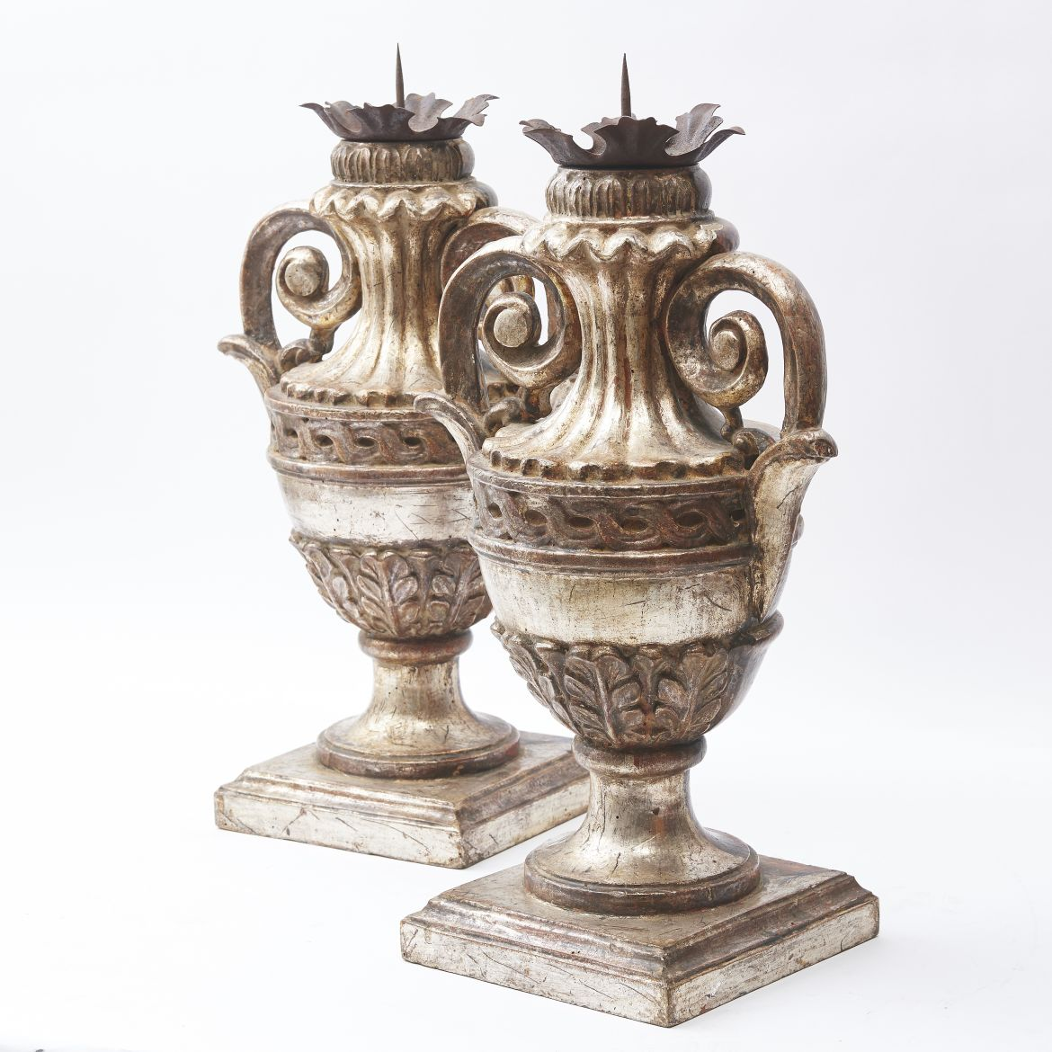 Carved Wood And Silver Leaf Urn Shaped Pricket Sticks
