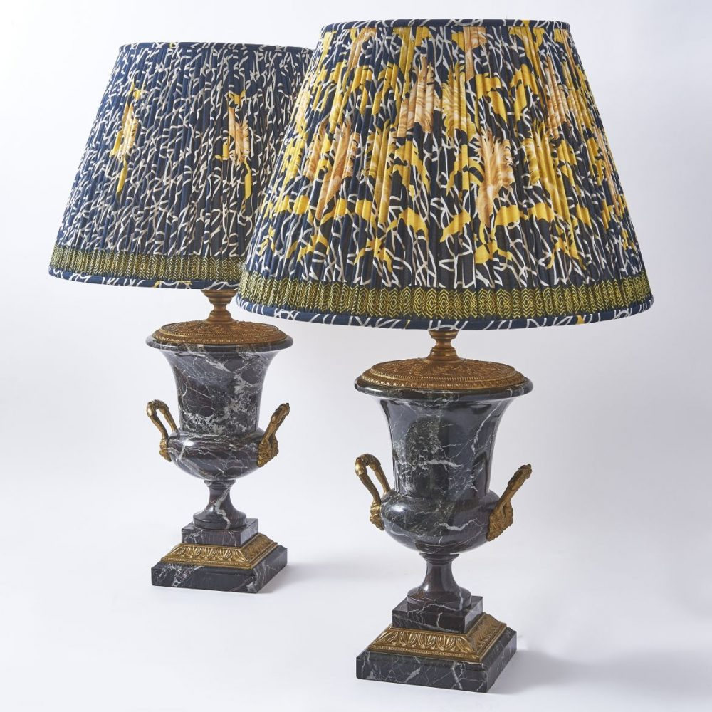 French Veined Griotte Marble Campana Urn Shaped Lamps